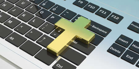 Christianity and technology. Golden cross on computer laptop keyboard. 3d illustration
