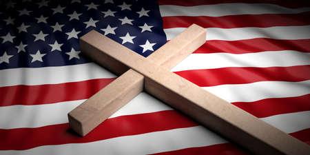 USA and christianity. Christian cross on American flag background. 3d illustration Stok Fotoğraf - 105361358