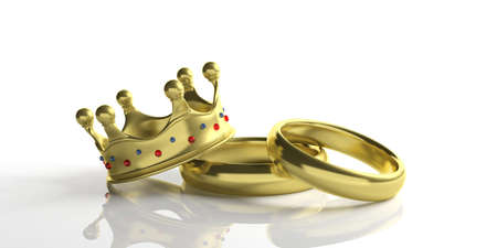 Royal wedding. Pair of golden wedding rings and a crown isolated on white background, closeup view, 3d illustration