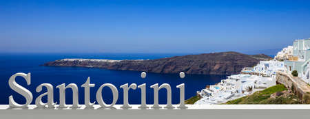 Summer vacation in Greek islands. Santorini, Fira, Greece, general view with Santorini text, banner Stock Photo - 105614847