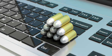 Cyber crime. Bullets stack isolated on  computer keyboard. 3d illustartion