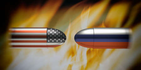 USA and Russia conflict concept. Russian and American flags on bullets, fire flames background. 3d illustration Banco de Imagens