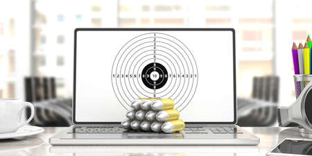 Bullets stack on a computer, shooting target on the screen, blur office background. 3d illustration Stock Photo