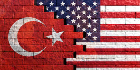 USA and Turkey relations. American and Turkish flags on cracked brick wall background. 3d illustration Stok Fotoğraf
