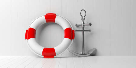Nautical concept. Ship anchor and life buoy on white wooden floor and wall background. 3d illustration