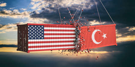 USA and Turkey trade war concept. US of America and Turkish flags crashed containers on sky at sunset background. 3d illustration 写真素材