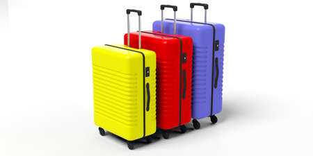 Travel concept. Three bright colors and various sizes suitcases isolated on white background. 3d illustration Stock Photo