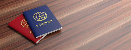 Travelling concept. Blue and red passports isolated on wooden background, banner, copy space. 3d illustration