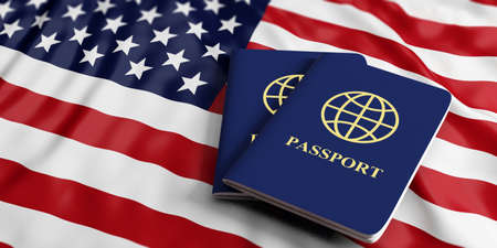 Travelling to USA. Two blue passports on US of America flag background. 3d illustration