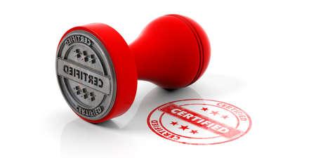 Sello CERTIFICADO. Sellador de caucho redondo rojo y sello con texto certificado aislado sobre fondo blanco. Ilustración 3d