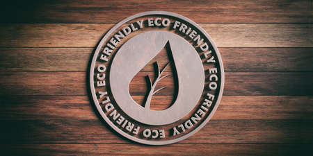 ECO FRIENDLY badge. Round metal sign with text eco friendly on wooden background. 3d illustration Stok Fotoğraf - 106445687