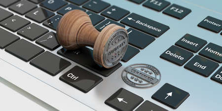 CERTIFIED stamp. Wooden round stamper and stamp with text certified on a computer laptop. 3d illustration