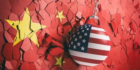 Relaciones entre Estados Unidos de América y China. Bola de demolición de la bandera de Estados Unidos rompiendo una pared de bandera china. Ilustración 3d