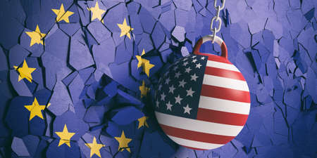 US of America and EU relations. USA flag wrecking ball breaking a European Union flag wall. 3d illustration Фото со стока