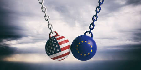 US of America and European Union relations. USA and EU flags wrecking balls swinging on blue cloudy sky background. 3d illustration 版權商用圖片