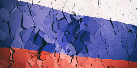 Russian crisis. Russia flag on cracked wall background. 3d illustration 写真素材