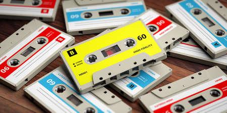 1970s-1980s party music. Vintage audio cassettes on wooden background, 3d illustration