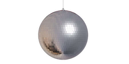 Party concept.  Silver mirror disco ball in a white background, isolated, 3d illustration Stock Photo