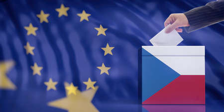 Elections in Czech Republic for EU parliament. Hand inserting an envelope in a Czech Republic flag ballot box on European Union flag background. 3d illustration