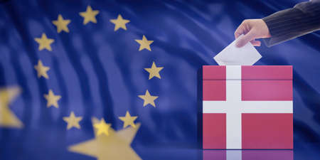 Elections in Denmark for EU parliament. Hand inserting an envelope in a Danish flag ballot box on European Union flag background. 3d illustration