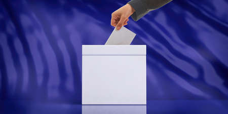 Elections concept. Hand inserting an envelope in a white blank ballot box on blue abstract background, copy space. 3d illustration Stock Photo