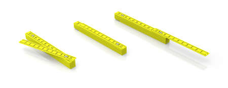 Carpenter folding rulers. Yellow wooden meters isolated on white background, banner. 3d illustration