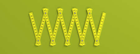 Carpenter folding ruler. Yellow wooden meter isolated cutout on green background, banner. 3d illustration
