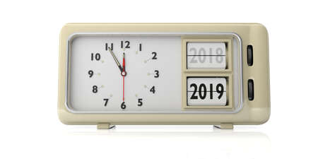 New year change. Retro alarm clock, year change from 2018 to 2019, midnight, isolated on white background. 3d illustration