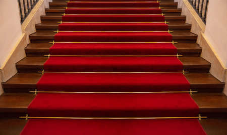 Red carpet luxury. Wooden stairs covered with red carpet background, perspective view
