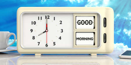 Good morning wake up message text on retro vintage alarm clock on white desk against blue sky background. 3d illustration.
