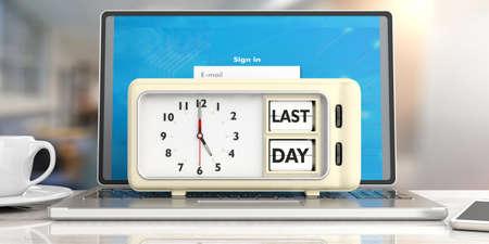 28a2db7b6d7e3d Last day deadline message on retro vintage alarm clock on computer against  office