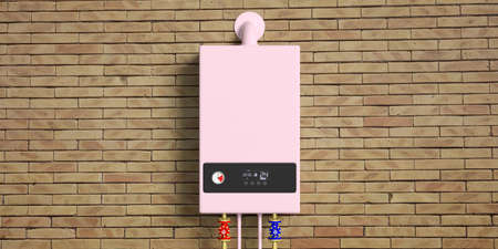 Home gas boiler, water heater isolated on brick wall, front view. 3d illustration