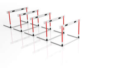 Business obstacles concept. Hurdles in a row isolated, against white background, copy space, 3d illustration.