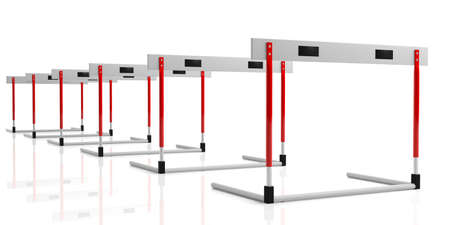 Business obstacles concept. Hurdles in a row isolated, against white background, 3d illustration. Standard-Bild