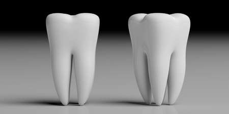 Teeth health, dentristy concept. Clean shiny tooth models isolated on grey black background. 3d illustration Stock Photo