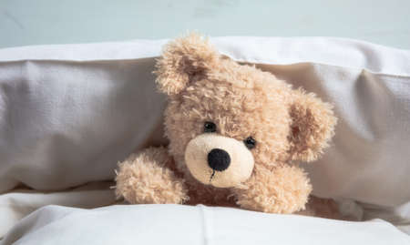 Kids bedtime. Cute teddy laying on bed mattress playing with pillows