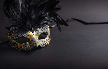 Carnival time. Venetian mask with feathers on black background, copy space