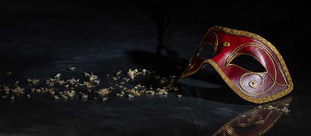 Carnival time. Venetian mask red and gold color on black background, reflections, banner