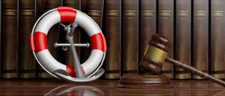 Law of the sea, lawyers office concept. Lifebuoy, navy ship anchor and judge gavel on law books background, banner. 3d illustration