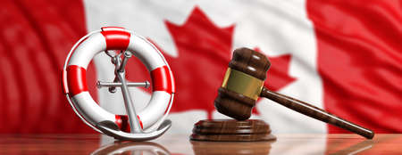 Canada law of sea concept. Lifebuoy, ship anchor and justice gavel on Canadian flag background, banner. 3d illustration
