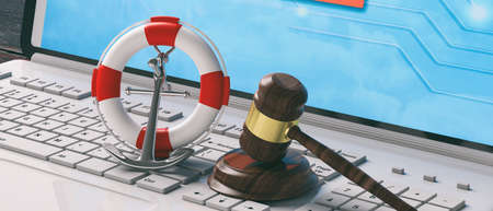 Online sea of the law concept. Lifebuoy, navy ship anchor and justice gavel on computer laptop keyboard, banner. 3d illustration