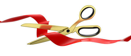 Grand opening concept. Gold scissors cutting red silk ribbon isolated cutout against white background, banner. 3d illustration