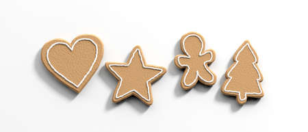 Christmas preparation, gingerbread cookies. Top view of christmas gingerbread cookies, isolated, against white background. 3d illustration