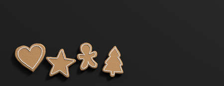 Christmas preparation, gingerbread cookies. Top view of christmas gingerbread cookies, isolated, against black background, copy space, banner. 3d illustration