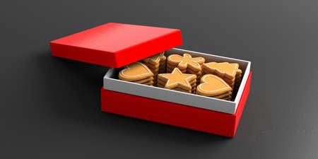 Gingerbread cookies. Christmas gingerbread cookies in a red gift box, isolated, against black background. 3d illustration Stock Photo
