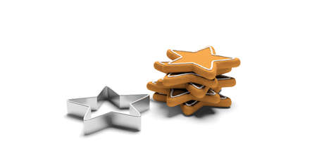 Christmas preparation, gingerbread cookies. Stack of star shaped gingerbread cookies and a cutter, isolated, against white background. 3d illustration