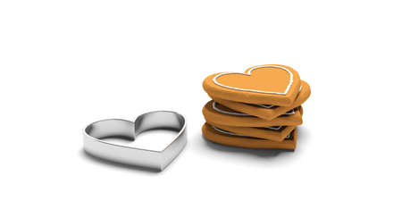 Christmas preparation, gingerbread cookies. Stack of heart shaped gingerbread and a cutter, isolated, against white background. 3d illustration Stock Photo