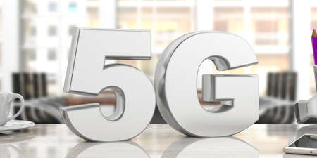 5G High speed network connection. 5th generation new mobile wireless internet wifi, blur office business background. 3d illustration