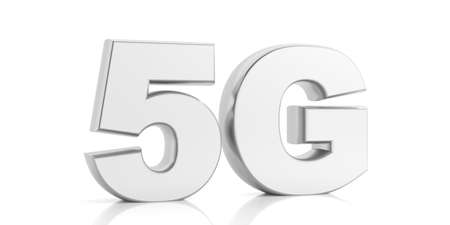 5G High speed network connection. 5th generation new mobile wireless internet wifi isolated against white background. 3d illustration 스톡 콘텐츠