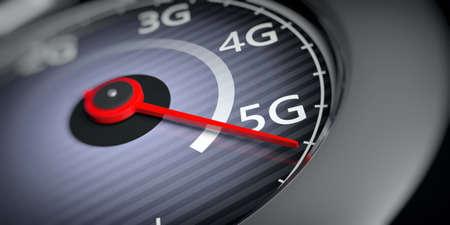 5G High speed network internet connection. Reaching 5g, speedometer indicator, internet speed test, closeup view. 3d illustration